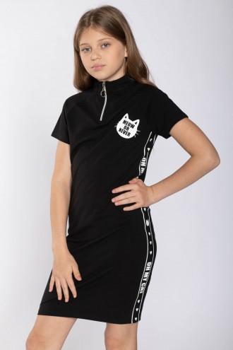 Czarna sukienka z ozdobnymi lamówkami CAT