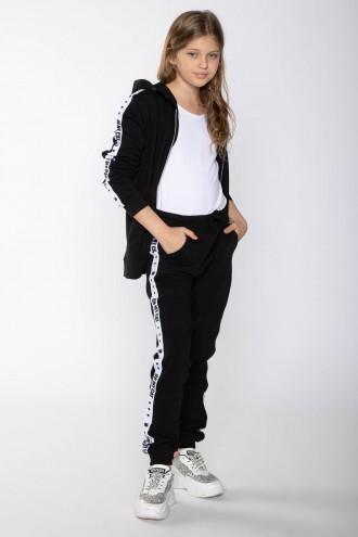 Czarne spodnie dresowe z białymi lampasami