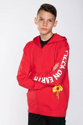 Czerwona bluza z kapturem dla chłopaka PIZZA