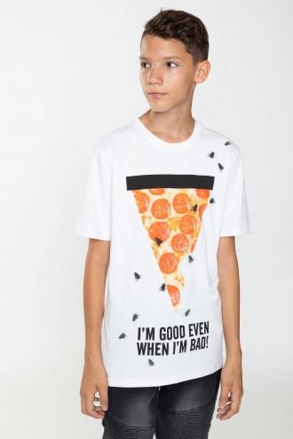 T-shirt z kolorowym nadrukiem PIZZA