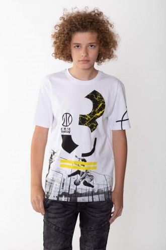 Biały T-shirt z nadrukiem dla chłopaka BASKETBALL