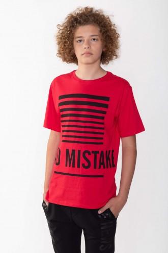 Czerwony T-shirt z nadrukami BAD MISTAKE