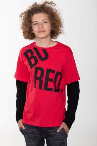 Czerwony T-shirt long sleeve BORED
