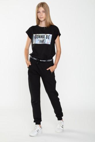 Czarne spodnie dresowe z ozdobnym pasem