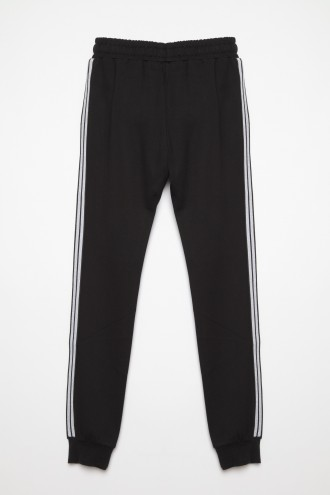 Czarne spodnie dresowe z lampasem dla dziewczyny