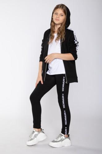 Czarne legginsy z ozdobnymi lamówkami