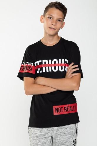 Czarny T-shirt dla chłopaka SERIOUS