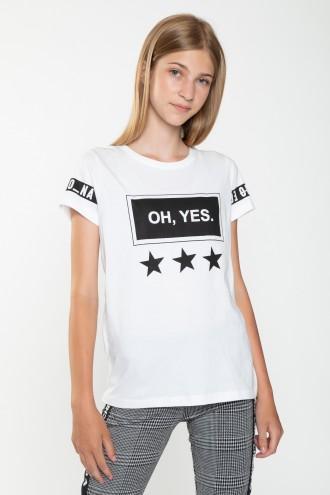 Biały T-Shirt dla dziewczyny OH YES