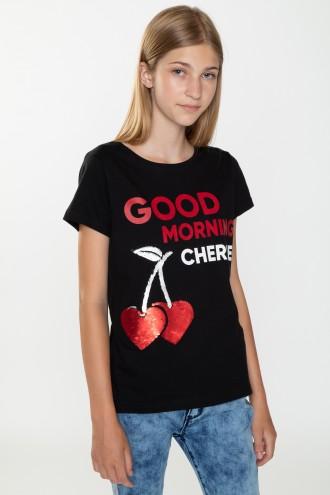 Czarny T-shirt dla dziewczyny GOOD MORNING