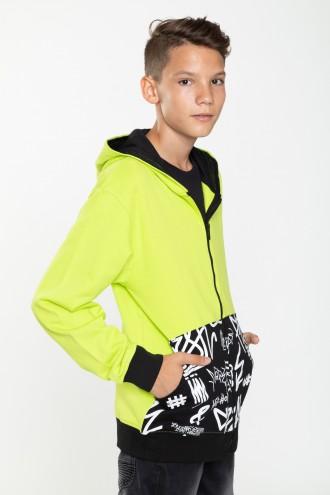 Limonkowa bluza z kapturem MIX