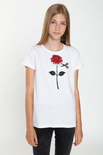 Biały T-shirt z różą ROSE