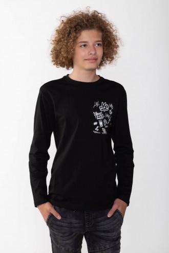 Czarny T-shirt long sleeve dla chłopaka