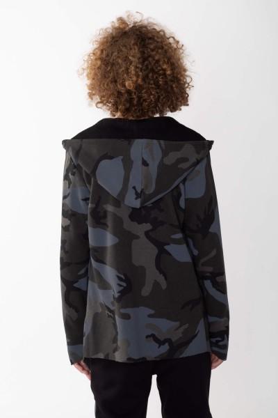 Asymetryczna rozpinana bluza moro dla chłopaka