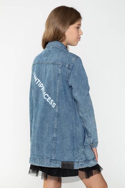 Jeansowa przedłużana kurtka dla dziewczyny
