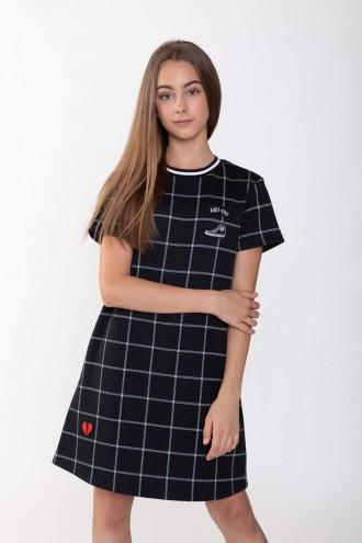 Trapezowa sukienka w kratę z aplikacjami