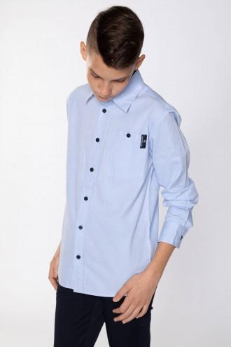 Błękitna koszula chłopięca z długim rękawem