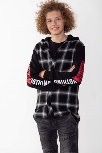 Koszula w kratkę z kapturem i nadrukami