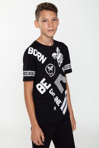 Czarny T-shirt z nadrukami BE ONLINE