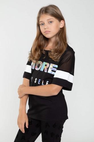 Czarny T-shirt z hologramowym nadrukiem MORE