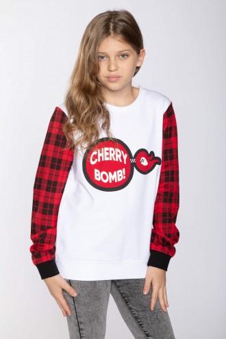 Biała bluza CHERRY BOMB