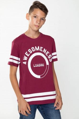 Bordowy T-shirt dla chłopaka AWESOME