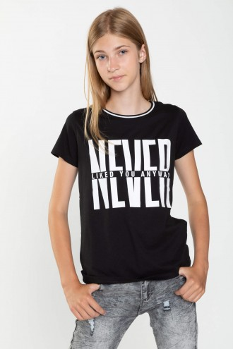 Czarny T-shirt dla dziewczyny NEVER