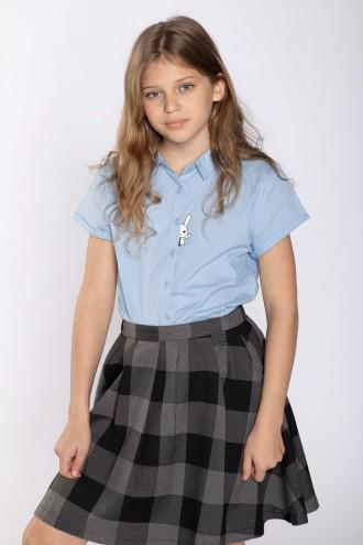 Błękitna koszula z krótkim rękawem dla dziewczyny