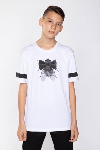 Biały T-shirt dla chłopaka z MUCHĄ