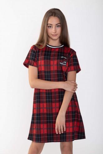 Sukienka w czarno-czerwoną kratkę