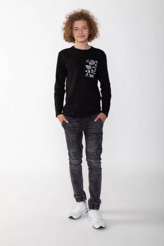 Czarne jeansowe joggery dla chłopaka