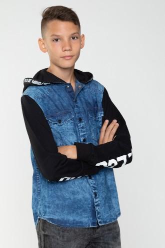 Jeansowa koszula z kapturem dla chłopaka