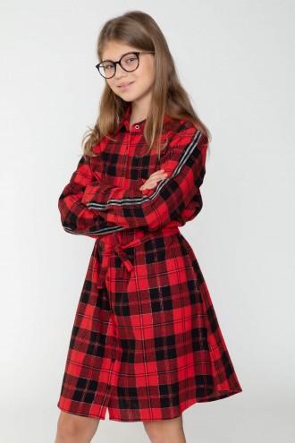 Koszulowa sukienka w kratę z lampasem