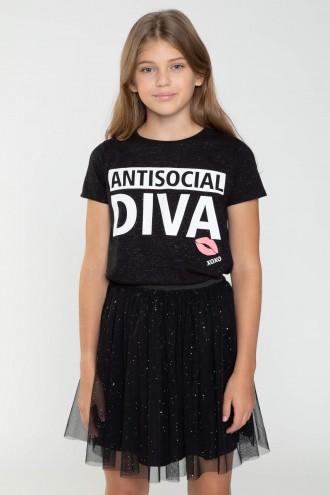 Czarny T-Shirt DIVA