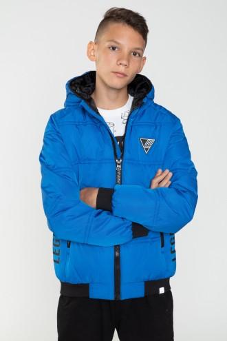 Niebieska kurtka dla chłopaka z ozdobnym kapturem
