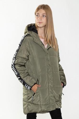 Przedłużana kurtka z lampasami dla dziewczyny