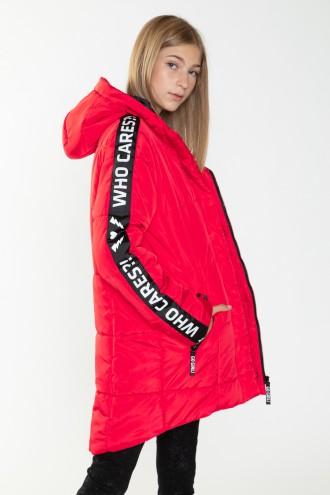 Czerwona przedłużana kurtka z lampasami dla dziewczyny