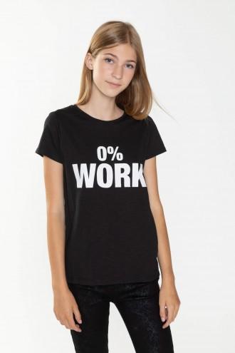 Czarny T-shirt WORK dla dziewczyny