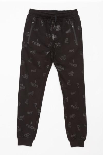 Czarne spodnie dresowe w nadruki dla chłopaka