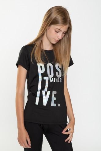 Czarny T-shirt dla dziewczyny POSITIVE