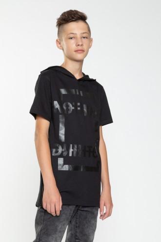 Przedłużany T-shirt z kapturem z zamkami po bokach