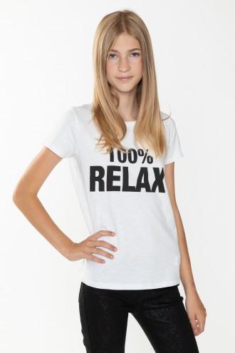 Biały T-shirt RELAX dla dziewczyny