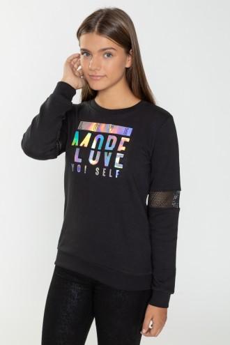 Czarna bluza dziewczęca MORE LOVE