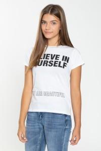 Biały T-shirt dla dziewczyny BELIEVE