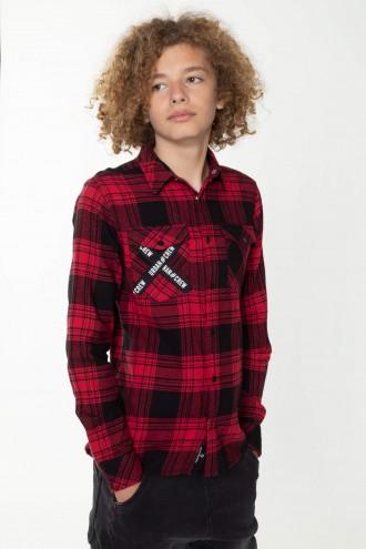 Koszula w kratkę z ozdobną kieszenią dla chłopaka