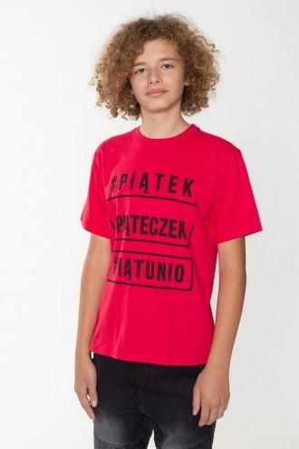 Czerwony T-shirt dla chłopaka PIĄTECZEK
