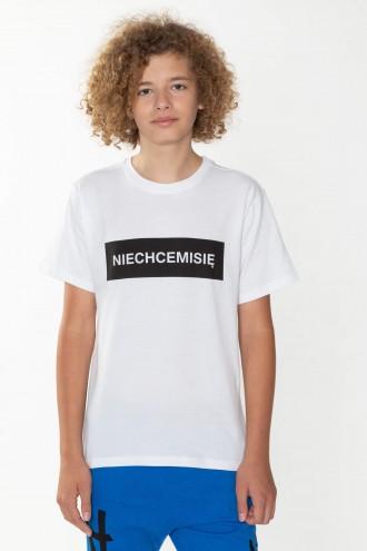 Biały T-shirt dla chłopaka NIECHCEMISIĘ