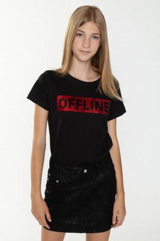 Czarny T-shirt dla dziewczyny OFFLINE