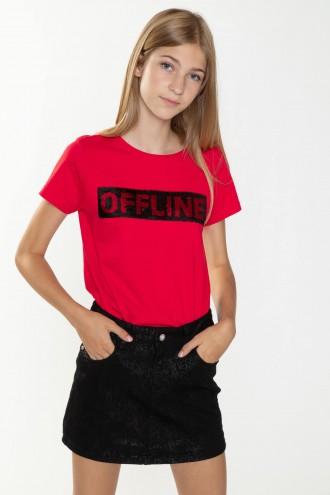 Czerwony T-shirt dla dziewczyny OFFLINE