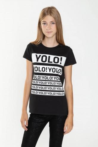 Czarny T-shirt dla dziewczyny YOLO