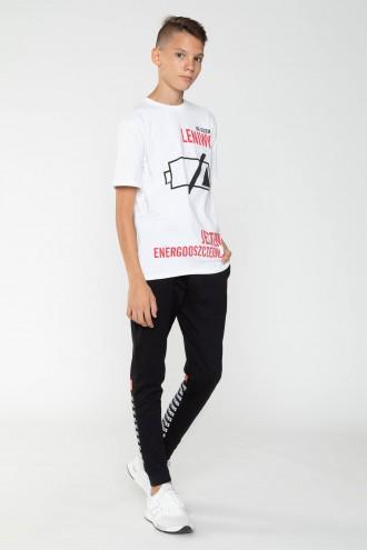 Czarne spodnie dresowe z ozdobnymi nogawkami